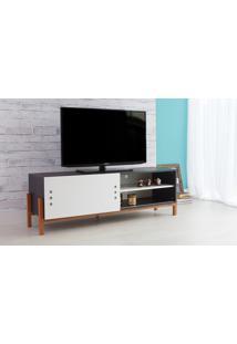Rack Tv Preto Moderno Vintage Retrô Com Porta De Correr Branca Eric - 146X43,6X48,5 Cm