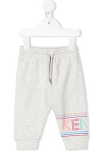 Kenzo Kids Logo Print Track Trousers - Cinza