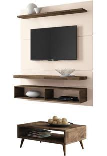 Painel Tv Life 1.3 Com Mesa De Centro Lucy Deck/Off White - Hb Móveis