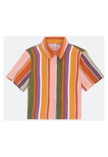 Camisa Curta Em Viscose Listrada | Blue Steel | Multicores | M