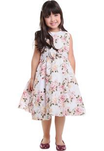 Vestido Infantil Pipoca Doce Crepe Floral Rosa