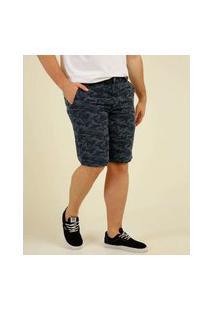 Bermuda Plus Size Masculina Sarja Estampa Camuflada