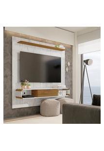 Painel Para Tv Até 65 Pol Lisboa Móveis Bechara 1 Porta 2 Nichos Carrara/Cinamomo