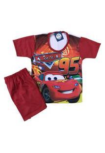Pijama Infantil Kidsline Malha Fria Verão Personagem Vermelho Menino