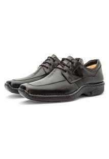 Sapato Masculino Em Couro Macio Cadarço Moderno Preto 36 Preto