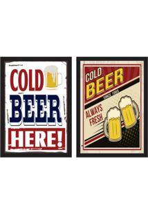 Conjunto Com 2 Quadros Decorativos Beer Colorido