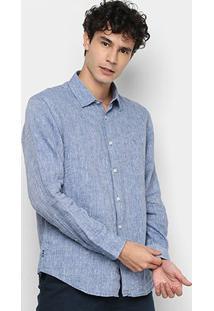 Camisa Social Vr Manga Longa Linho Lisa Masculina - Masculino-Azul