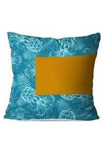 Capa De Almofada Avulsa Decorativas Abacaxi Azul 35X35Cm