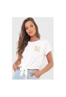 Camiseta Cropped Dimy Amarração Off-White
