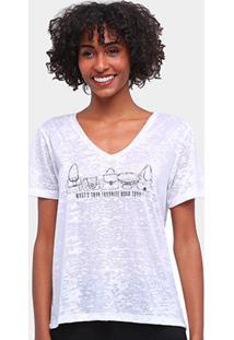 Camiseta Carmim Gola V Flamê Estampada Feminina - Feminino-Off White