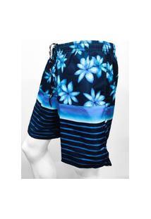 Bermuda Masculina Estampada Em Tactel Flores-Azul Escuro-Gg