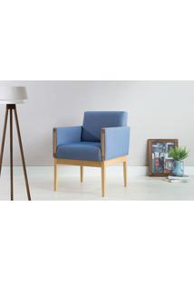 Poltrona De Madeira Decorativa Azul Claro - Poltrona Confortável Para Sala E Quarto - Verniz Amendoa \ Tec.930 - Mariscal - 62X64X83 Cm