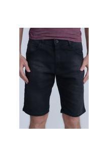 Bermuda Hd Jeans Regular Confort Preta