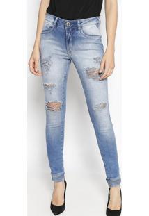 Jeans Cigarrete Estonado Com Destroyed- Azuldenuncia 1a4b5faaee2