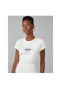 Amaro Feminino T-Shirt Mais Amor, Off-White