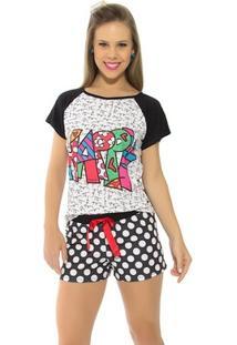 Pijama Recco Curto De Viscoprint E Viscose Stretch - Feminino