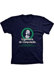 Camiseta Baby Look Lu Geek Engenharia De Azul Marinho