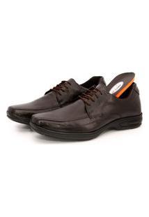 Sapato Social Conforto Cadarço Em Couro Palmilha Gel Br2 Marrom