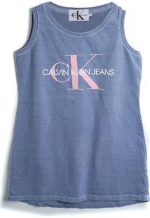 Vestido Calvin Klein Kids Escrita Azul