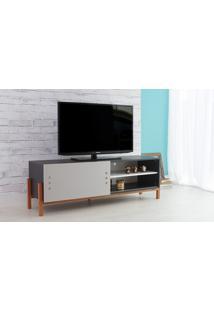 Rack Para Tv Preto Moderno Vintage Retrô Com Porta De Correr Cinza Eric - 146X43,6X48,5 Cm