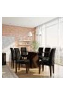 Conjunto De Mesa De Jantar Larissa Ii Com Vidro E 6 Cadeiras Grécia Suede Castor E Preto