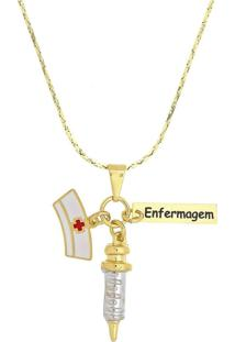 Colar Profissão Enfermagem 3Rs Semijoias Dourado