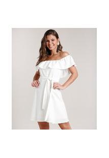 Vestido Feminino Curto Ciganinha Com Linho E Faixa Para Amarrar Off White