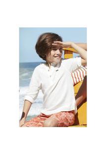 Camisa Bata Infantil Menino Manga Clássica Oliver
