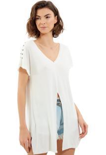 Camiseta John John Shoulder Malha Off White Feminina (Off White, M)