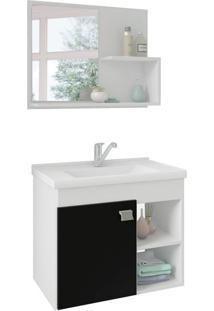 Conjunto De Banheiro Lotus Branco E Preto