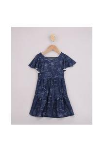 Vestido Infantil A Caminho Da Lua Com Recortes Manga Curta Azul Marinho