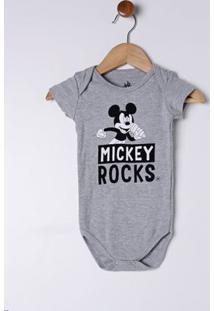 Body Disney Infantil Para Bebê Menino - Cinza