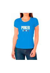Camiseta Feminina Algodão Poker Confortável Leve Casual Azul