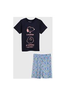 Pijama Tricae Por Snoopy Curto Infantil Tal Pai Tal Filho Azul-Marinho/Azul