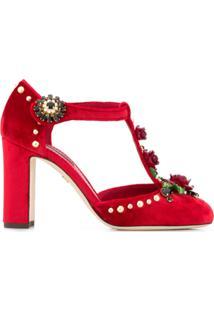 Dolce & Gabbana Sapato Com Aplicação Floral - Vermelho