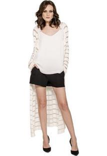 Casaco Tricot Listras Alphorria Feminino - Feminino-Off White