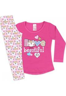 Conjunto Kids Mullet 2 Peças Fox Love Pink E Rosa Analê