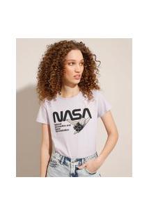 Camiseta De Algodão Nasa Manga Curta Decote Redondo Lilás