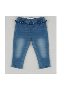 Calça Jeans Infantil Em Moletom Com Babado Azul Médio