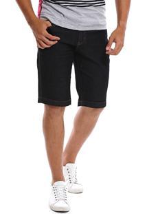 Bermuda Jeans Bamborra Denim Slim Com Lycra Preta