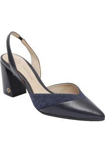 f5a43cc42 Sapato Chanel Em Couro Com Recortes- Azul Marinho & Azulcapodarte