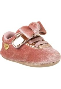 Sapatinho Infantil Recém-Nascido Veludo Feminino - Feminino-Rose Gold