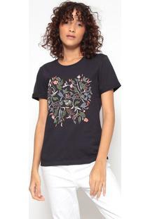 Camiseta Com Bordadoazul Marinho & Verdehering