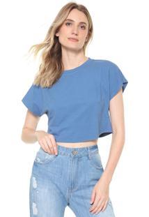 Camiseta Cropped Morena Rosa Recortes Azul