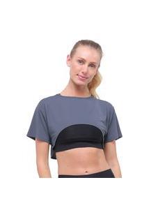Camiseta Cropped Decote Redondo Dry Fit Chumbo Morena Rosa Living