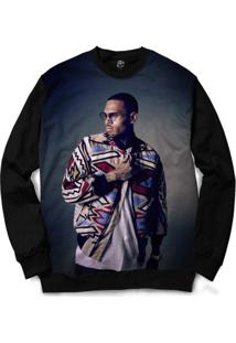 Blusa Bsc Chris Brown Full Print - Masculino-Preto