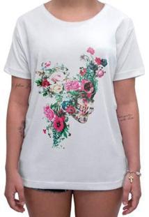Camiseta Impermanence Estampada Floower Skull Feminina - Feminino-Branco