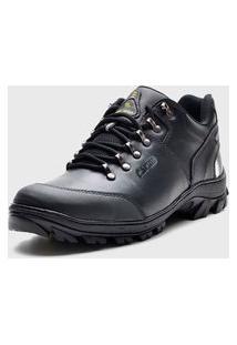 Tênis Casual Adventure Masculino Em Couro Na Cor Preta Atron Shoes