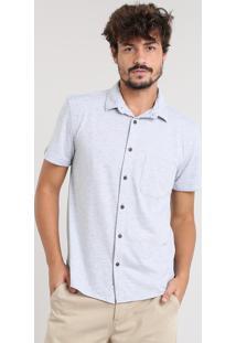 Camisa Masculina Listrada Com Bolso Manga Curta Cinza Mescla Claro