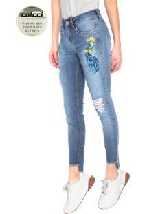 885ddb9a7b Calça Jeans Colcci Skinny Cory Bordado Azul